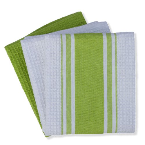 Mahogany Center Border Waffle Kitchen Towels, Lime Green, Set of 3