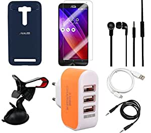 NIROSHA Tempered Glass Screen Guard Cover Case Headphone USB Cable Mobile Holder Charger for ASUS Zenfone Laser 2 ZE500KL - Combo