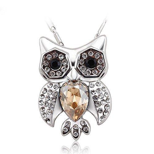 J&F - Collana da donna con pendente gufo e cristalli Swarovski Crystal, placcata Rodio