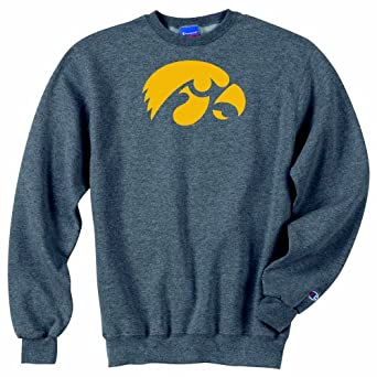 Champion NCAA Unisex Adult Iowa Hawkeyes Powerblend Crew (Granite, Medium) by Champion
