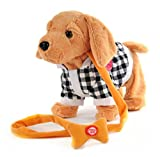 Electric leash dog plush toy dog music robot dog remote children's toys electronic pet dog walking