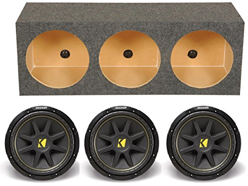 3) KICKER 10C124 12 300W 4 Ohm Car Audio Subwoofer+Triple Sub Box Enclosure C12 2 канальный усилитель kicker xs50