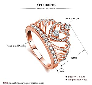 Rings Women 18K Rose Gold Plated AAA Cubic Zirconia Princess Crown Ring Girl Gift Wedding Engagement (7)