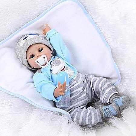 NPK COLLECTION 22 pouces 55cm Reborn Bébé poupée Silicone en vinyle doux Nouveau née Mignonne Sourire garçon Sucette magnétique