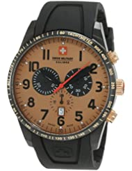 Swiss Military Calibre Men's 06-4R4-13-002 Red Star Gold Tone Dial Chronograph Rubber Date Watch