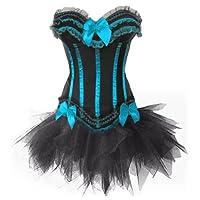 Stay T8068 Women's Burlesque Stripe Overbust Corset Bustier with Tutu SKirt Fancy Dress
