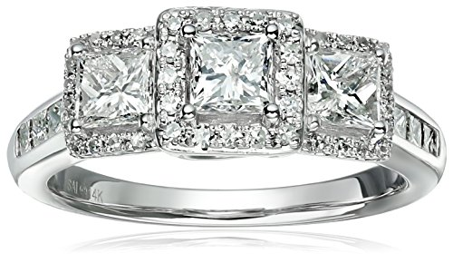 14k-White-Gold-Diamond-3-Stone-Princess-Halo-Frame-Engagement-Ring-1-12cttw-H-I-Color-I1-I2-Clarity-Size-7