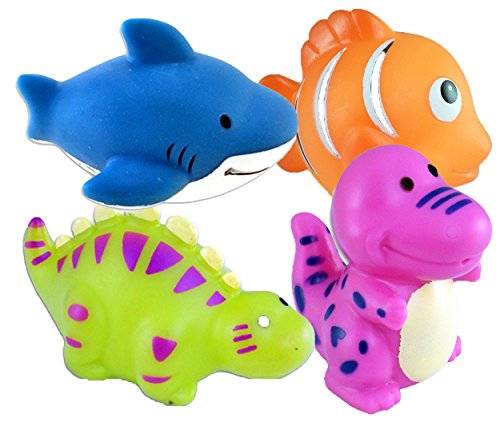 Bath Buddy Squirters-Set of 4! Clown Fish, Stegasaurus, Shark, T-Rex/BATHTIME/Prizes or Party Favors - 1