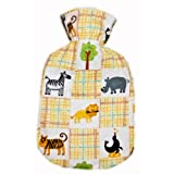 Warm Tradition ZOO ANIMALS FLANNEL CHILDREN'S Covered Hot Water Bottle - Bottle made in Germany, Cover made in USA