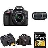 Nikon D3300 Wi-Fi Bundle with 18-55mm and 55-300mm VR Lenses + Accessories