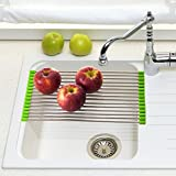 Foldable Dish Drying Drain Rack Fits Easily Over Your Sink - Rolls Up For Storage - Stainless Steel (18.75L by 9W, Green)