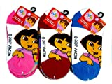 Dora the Explorer Anklet Sock Assorted Designs in Pack- 3 Pair Pack -Girls 6-8