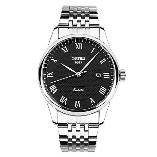Mens Unique Roman Numeral Watch Stainless Steel Band Dress Wrist Analog Quartz Waterproof Business Casual, Key Scrath Resitant Face and Classic Design Calendar Date Window, 98FT 30M 3ATM Water Resistant - Black (Men Steel Watch compare prices)