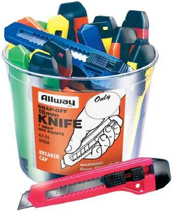 Neon, 7 Point (18Mm) Snap Off Knife, 25/Bucket, Labelled