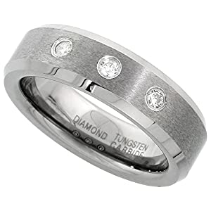 6mm Tungsten Diamond Wedding Band for Him & Her 3 Stone 0.11 cttw Matte Finish Beveled Edges Comfort fit, size 4