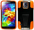 myLife (TM) Shocking Black and Orange - Neo Hybrid Series (Built In Kickstand) 2 Piece + 2 Layer Case for NEW Galaxy S5 (5G) Smartphone by Samsung (External Hard Fit Armor With Built in Kick Stand + Internal Soft Silicone Rubberized Flex Gel Bumper Guard)