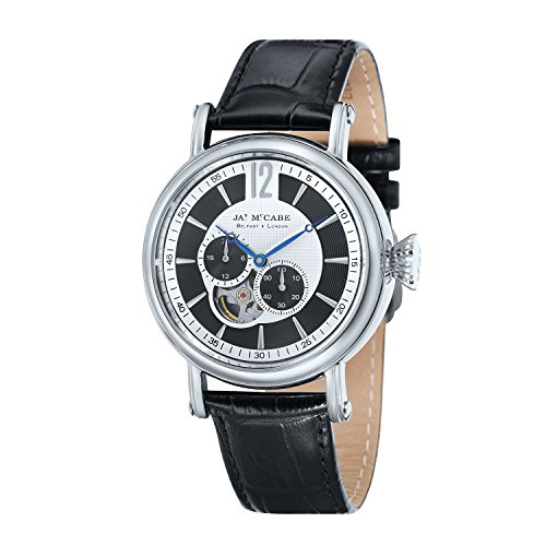 James McCabe Stainless Steel Case & Black - Silver Dial with Black Leather Strap Japan Automatic and Hand Winding...