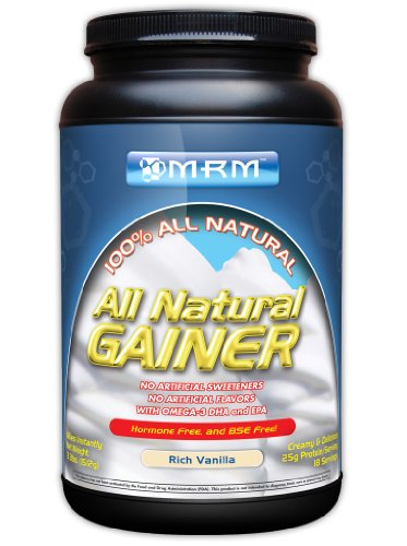 MRM All Natural Gainer, Rich Vanilla, 3.3 Lbs Tub