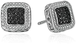 Sterling Silver Black Diamond Square Stud Earrings