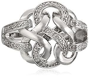 Sterling Silver Ribbon Diamond Ring (0.04 cttw, I-J Color, I2-I3 Clarity), Size 6