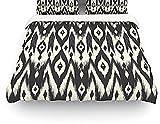 "Kess InHouse Amanda Lane ""Black Cream Tribal Ikat"" Tan Dark Queen Cotton Duvet Cover, 88 by 88-Inch"