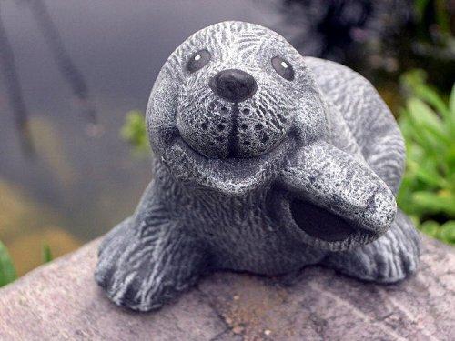 Garden ornament Mole sitting, Cast stone, Slate gray