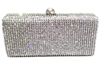 Hot Sale Dazzling Crystal Pave in Silver Base Evening Clutch with Detachable Chain