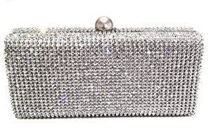 Dazzling Crystal Pave in Silver Base Evening Clutch with Detachable Chain
