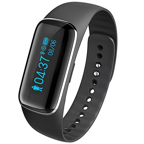 DESAY Smart Fitness Tracker,Wireless Sleep Heart Rate Monitor Activity Tracker Wristband Sport Bracelet Watch for Iphone Android(Black)