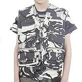 Ejército niños Camuflaje urbano Multi bolsillo del chaleco de edad 7-8 años Negro y negro Camo