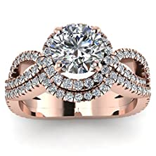 buy Intertwined Engagement Wedding Rings Set 1.40 Ct Round Cut Diamond Gia (F Color, Si2 Clarity)