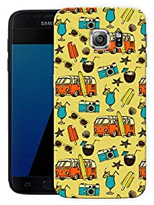 "Vintage Roadtrip PatternPrinted Designer Mobile Back Cover For ""Samsung Galaxy S7 Edge"" (3D, Matte, Premium Quality Snap On Case)"