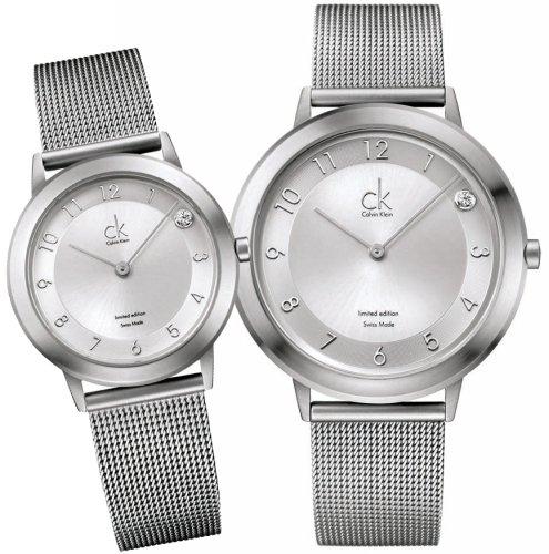 ck Calvin Klein Watches (カルバン・クライン ウォッチ) 腕時計 ck K0369001 ck minimal limited silver メンズ&レディース ペアセット 限定モデル [正規輸入品]