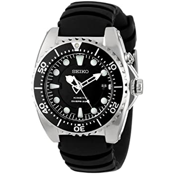 The Seiko Men's Adventure Kinetic Diver Watch isn't quite ready to travel 20,000 leagues under the sea, but this adventurous timepiece will accompany you down an impressive 660 feet. Constructed with a strong stainless steel case, the watch includes ...