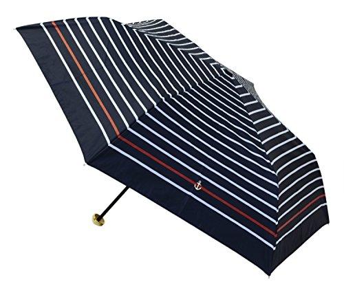 【遮熱・遮光】 折りたたみ日傘 ジッパーケース付 遮光カラーラインボーダー ミニ 50cm ネイビー 801-530