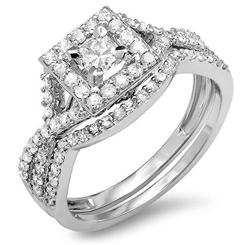 1.00 Carat (Ctw) 14K White Gold Princess & Round Diamond Bridal Halo Engagement Ring Set 1 Ct (Size 6.5)
