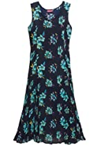 Plus Size Dress In Maxi Length With V-Neck, Crinkle Texture (Dark Navy Print,2X)