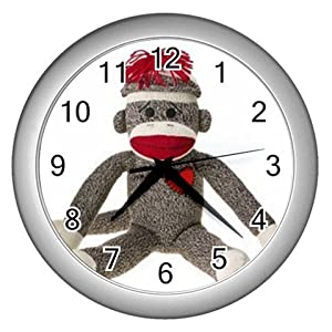 Sock Monkey Design Plastic 10 inch Wall Clock 26402374