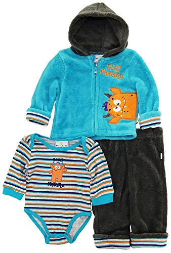 duck-goose-baby-boys-cute-silly-monster-sherpa-jacket-bodysuit-3pc-pant-set-blue-3-6-months