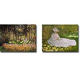Wooded Scene & Springtime by Claude Monet 2-pc Premium Gallery-Wrapped Canvas Giclee Art Set (Ready-to-Hang)