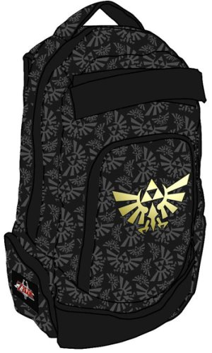 Nintendo Wii Zelda Triforce Logo Back Pack - Gold Black Logo All Over Print Bag