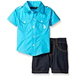 U.S. Polo Assn. Big Boys 2 Piece Solid Short Sleeve Poplin Sport Shirt and Denim Short, Blue Sea, 10