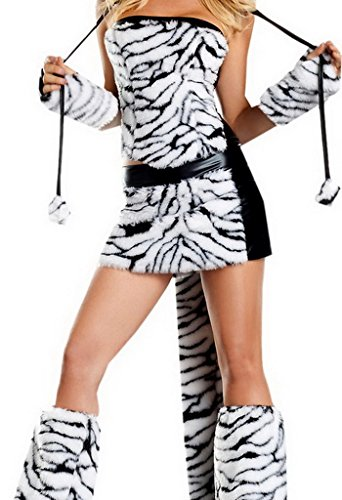 Bigood Costume Adventure Women's Deluxe Sexy White Tiger Costume
