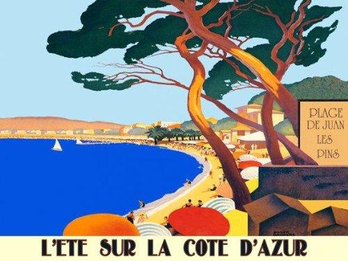 """Canvas La Cote D Azur Place Juan Les Pins Beach Sailboat Horizontal Ocean Travel France French 20"""" X 30"""" Image Size Vintage Poster Reproduction On Canvas"""