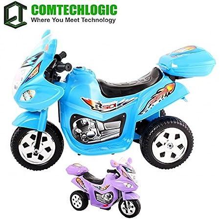 Comtechlogic CM-2190 trois roues 6v Rechargeable Ride-on électrique Tricycle - Bleu / Violet - Bleu