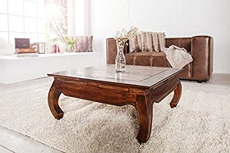 DuNord Design Couchtisch Beistelltisch OPIUM Mahagoni Massiv 80cm Retro Antik Tisch Shabby