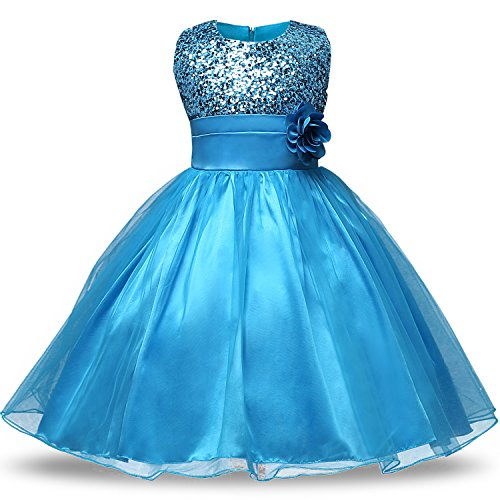 NNJXD Girl Flower Sequin Princess Tutu Tulle Baby Party Dress Size 4-5 Years Blue