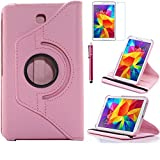 Tab 4 7.0 Case, AiSMei Rotating Case For Samsung Galaxy Tab 4 7.0 SM-T230,SM-T231, SM-T230NU Tablet PC,7-Inch PU Leather Case [Bonus Stylus+Screen Protector] -Pink (Color: Pink, Tamaño: 7 Inch)