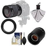 Samyang 500mm f 8.0 Mirror Lens with 2x Teleconverter (=1000mm) for Canon EOS 60D - 7D - 5D Mark II III - Rebel T3 - T3i - T4i Digital SLR Cameras
