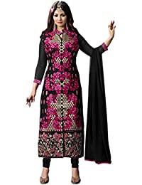 Aryan Fashion Designer Black & Pink Embroidered Georgette Semi-Stitched Suit For Women & Girls Party Wear For...